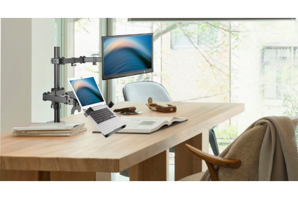 colonne articul e double support pc portable cran 13 32 915170. Black Bedroom Furniture Sets. Home Design Ideas